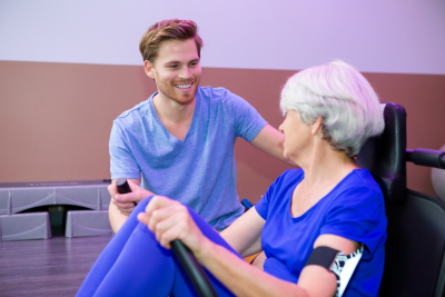 elder patient on physical therapy